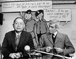 Tchang et Hergé en 1981