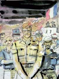 Hugo Pratt : Les Scorpions du Désert - couverture de Brise de Mer <br>(70000-80000  &euro; !!!)