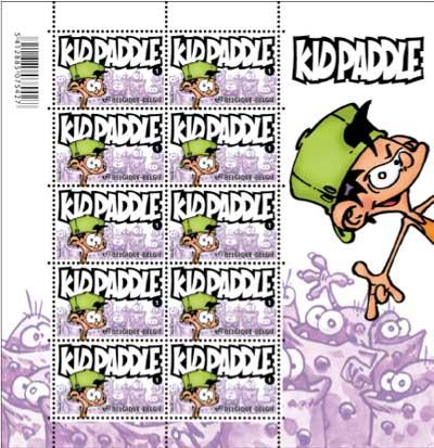Le feuillet de 10 timbres Kid Paddle
