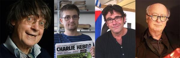Les 4 auteurs décédés : Cabu, Charb, Tignous, Wolinski