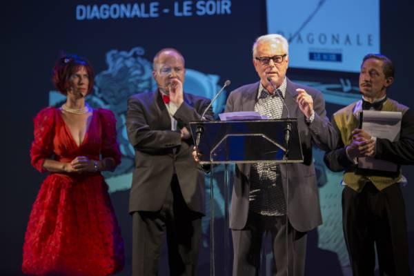 Jean Dufaux, Président du jury des prix Diagonale, lancé dans un discours en anglais des plus hilarants © Marc Carlot
