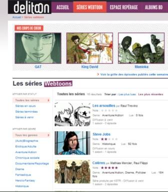 copie d'écran du portail européen Delitoon : les séries webtoons
