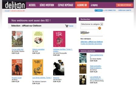 copie d'écran du portail européen Delitoon : la librairie