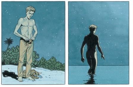 Mezek - extrait de la planche 11 : bain nu sur la plage © Yann et André Juillard / Le Lombard, collection Signé