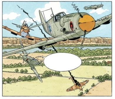 Mezek - extrait de la planche 41 : combat aérien © Yann et André Juillard / Le Lombard, collection Signé