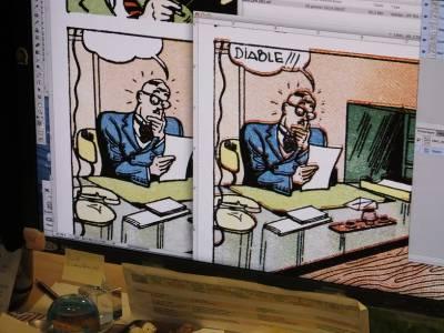 A gauche, une case restaurée, à droite le document original. A noter les décalages etc.