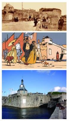 L'entrée de la Ville-close de Concarneau et son célèbre beffroi. Hier, aujourd'hui et vu par Le Floc'h